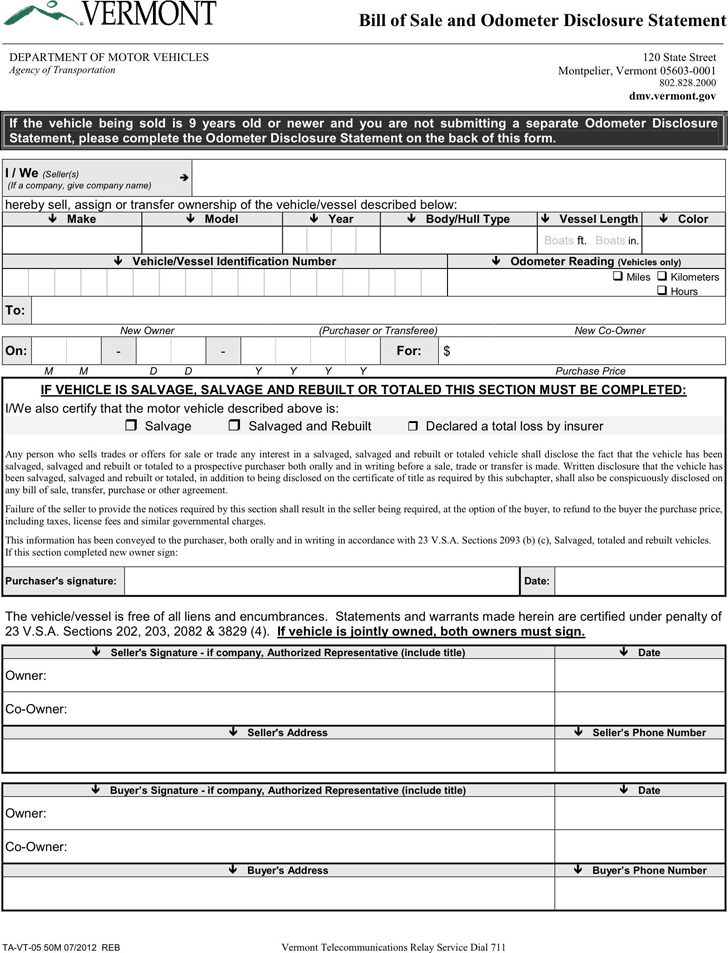 Vermont Motor Vehicle Bill of Sale Form
