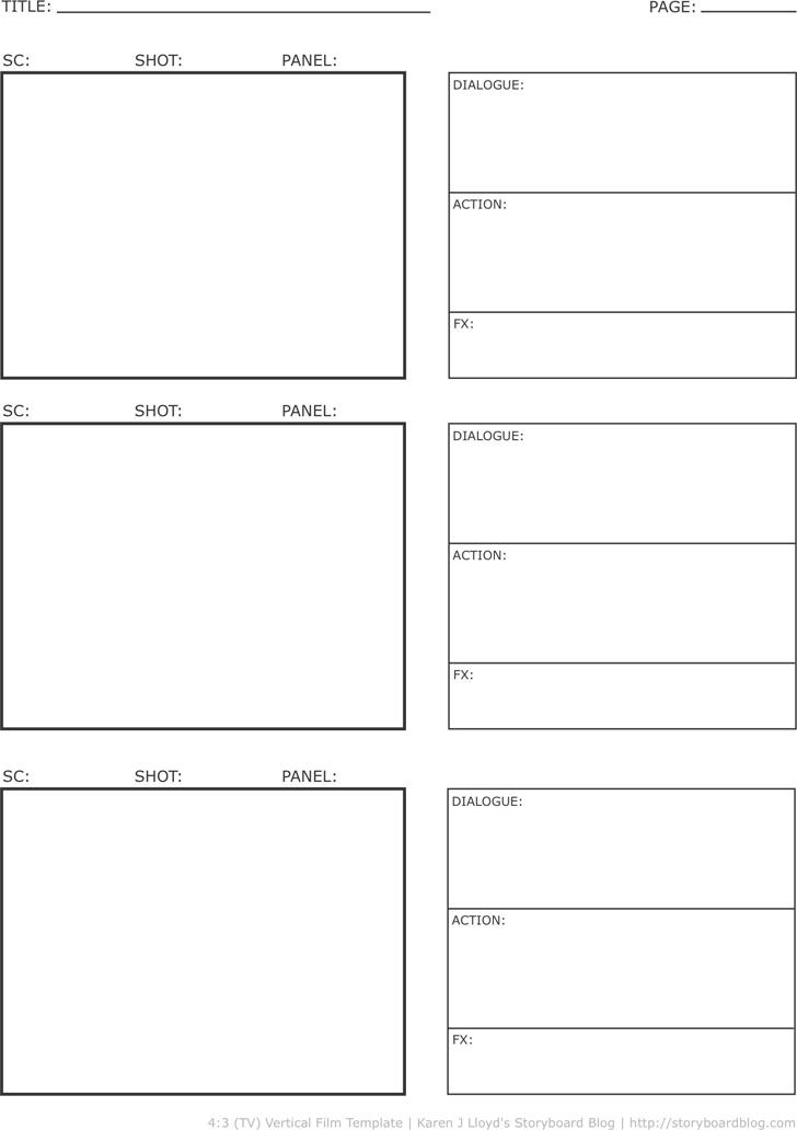 Storyboard Template Vertical Vertical Storyboard Template