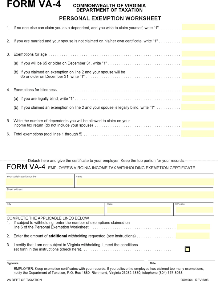 State Tax Withholding Forms Template Free Download Speedy Template - Virginia will template