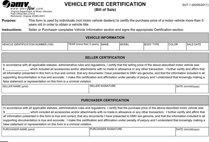 Bill of sale template free template download customize for Virginia motor vehicle department