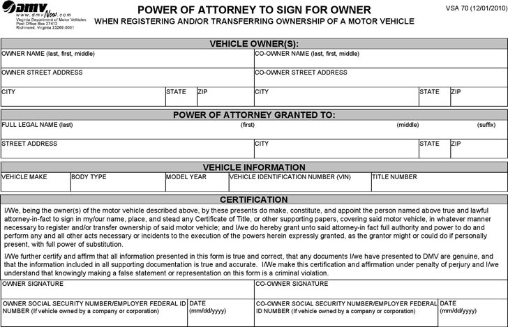 Virginia Motor Vehicle Power of Attorney Form