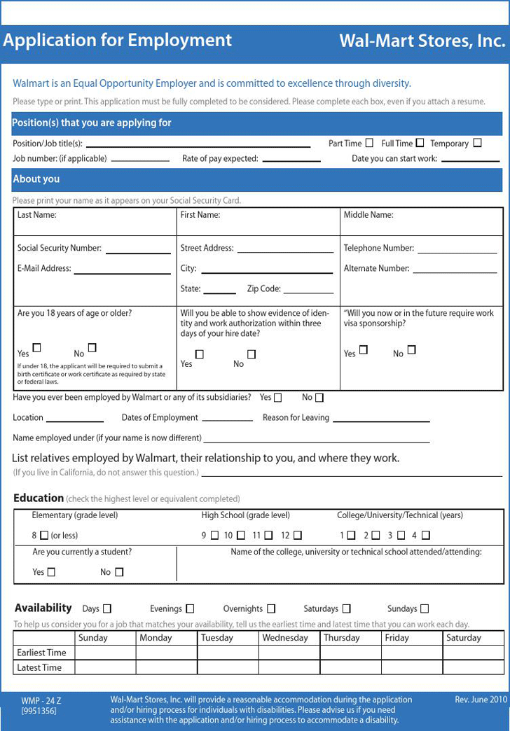 walmart-application-for-employment-1 Job Application Form For Walmart Pdf on basic employment application pdf, fill out application pdf, printable job applications pdf, general employment application pdf, walmart resume pdf, costco application pdf,