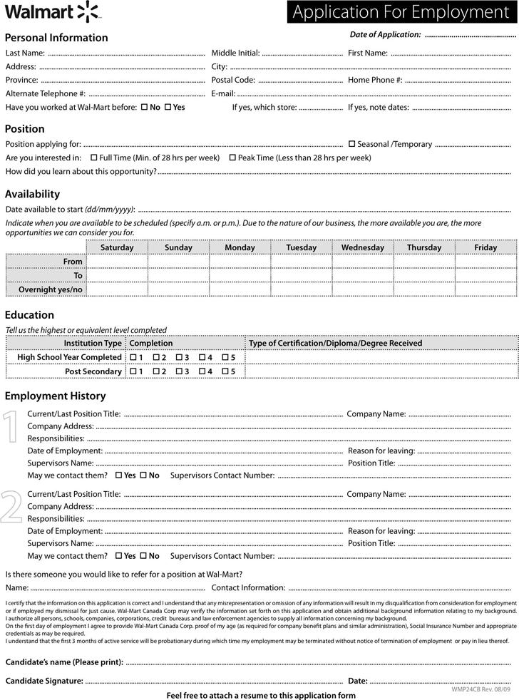 Walmart Job Application Template Free Template Downloadcustomize