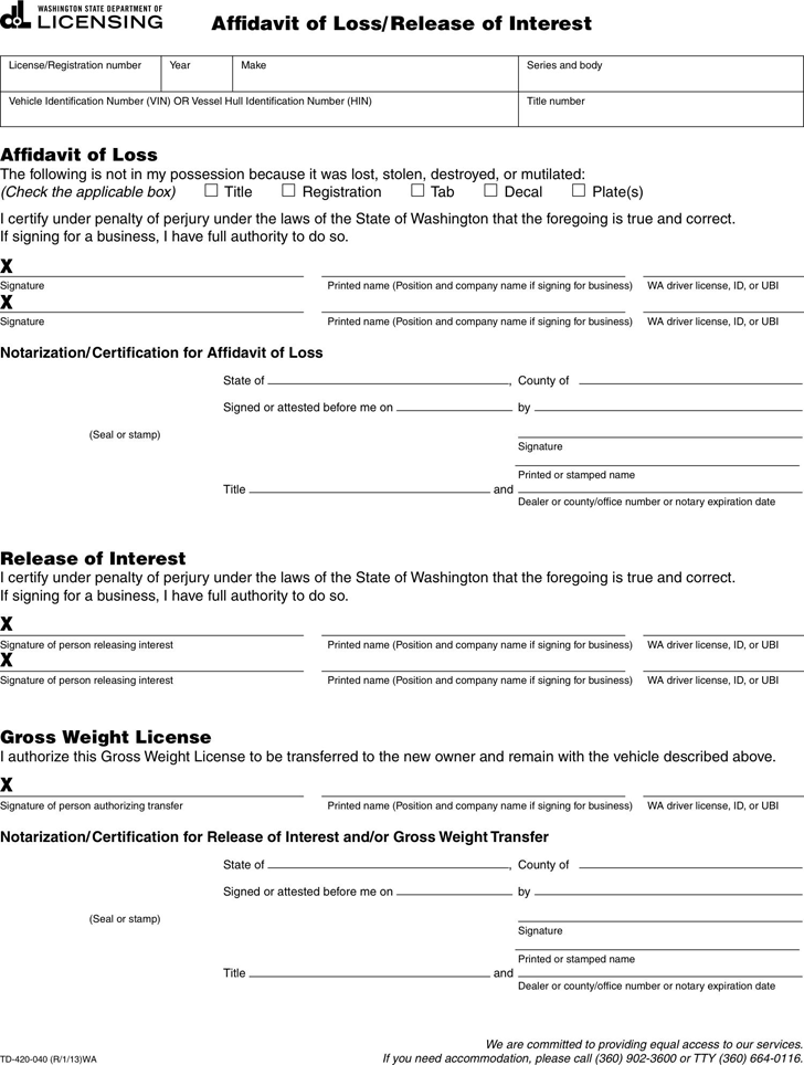 Free Washington Affidavit of Loss/Release of Interest - PDF