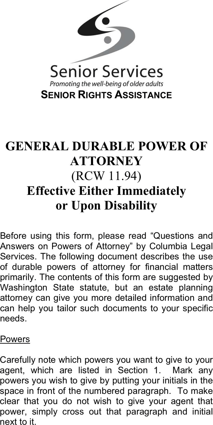 Washington General Durable Power of Attorney Form