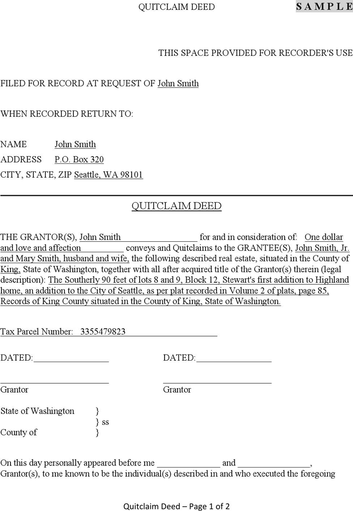 Free Washington Quitclaim Deed Form - PDF | 137KB | 8 Page(s) | Page 5