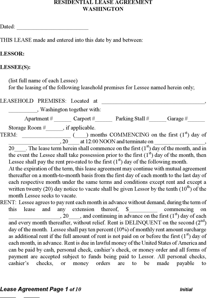 Washington State Lease Agreement Form Ibovnathandedecker