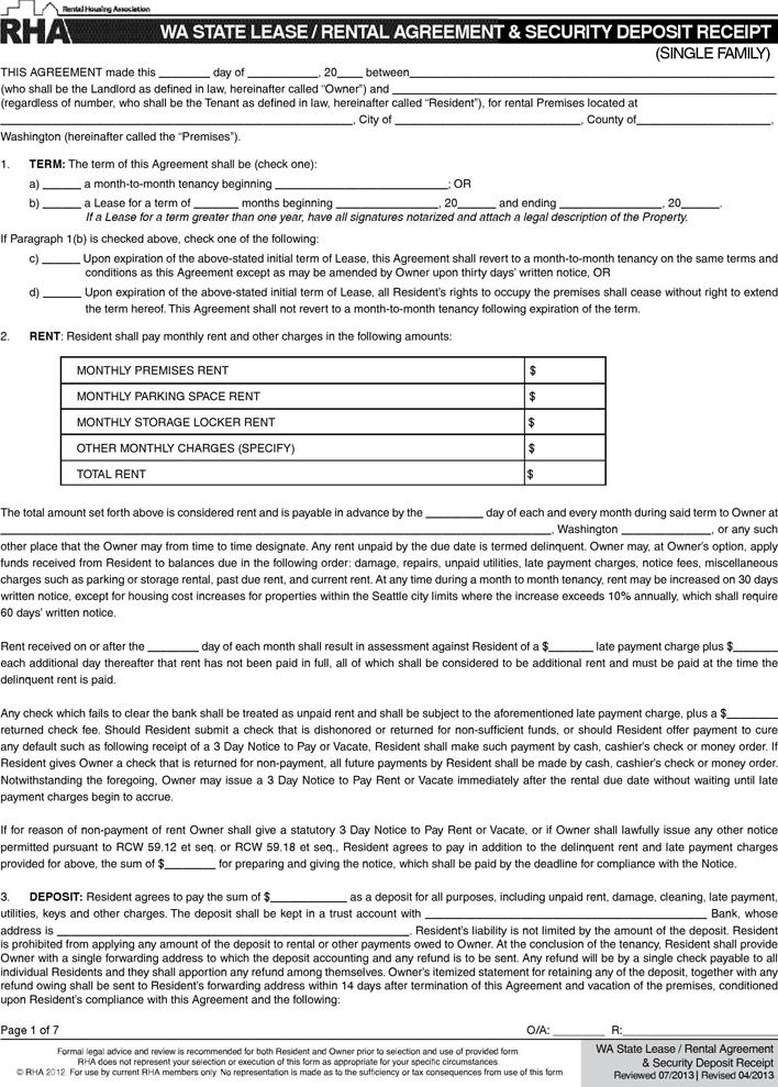 free washington state month to month rental agreement pdf 241kb 7 page s. Black Bedroom Furniture Sets. Home Design Ideas
