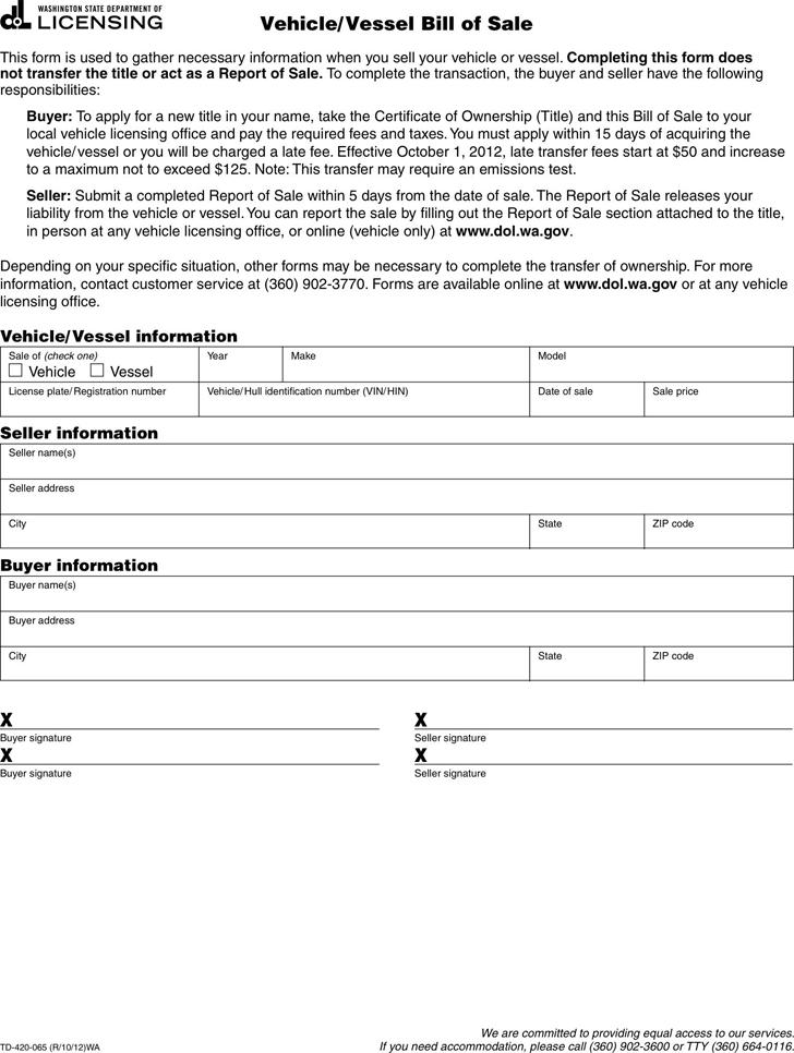 free washington vehicle vessel bill of sale form pdf 68kb 1
