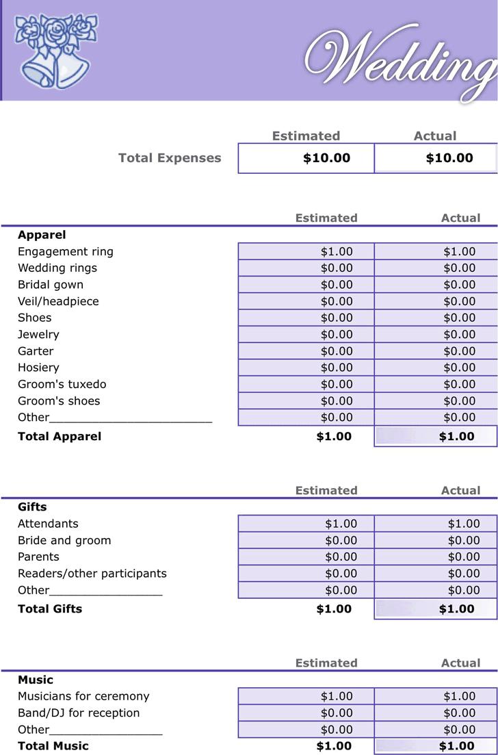 wedding budget sheets