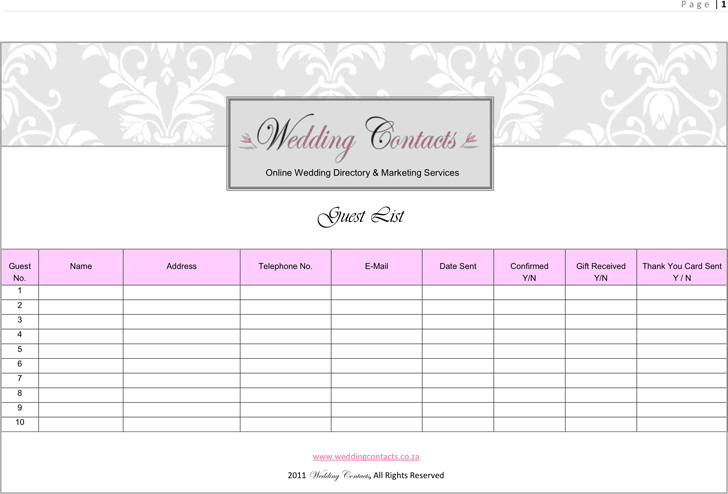 free wedding guest list template pdf 293kb 5 page s