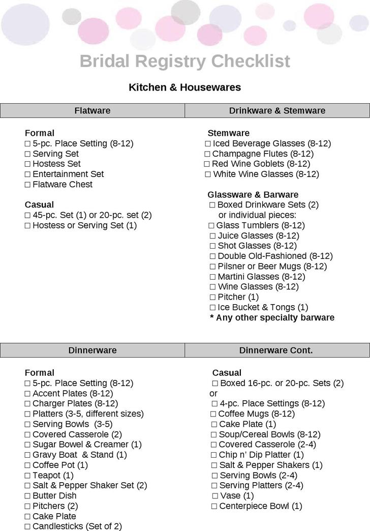 Free Wedding Registry Checklist Pdf 56kb 4 Page S