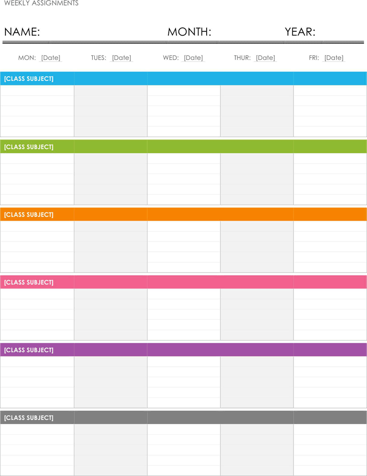 Free Weekly Assignment Calendar Template Dotx 49kb 1 Page S