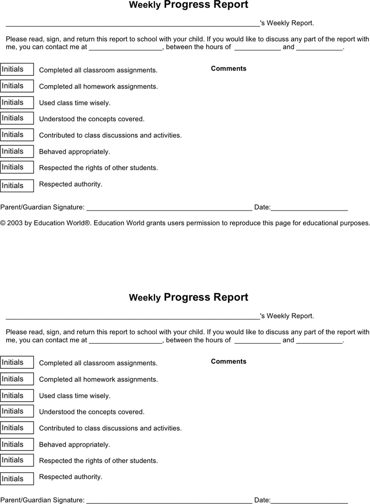 weekly progress report forms