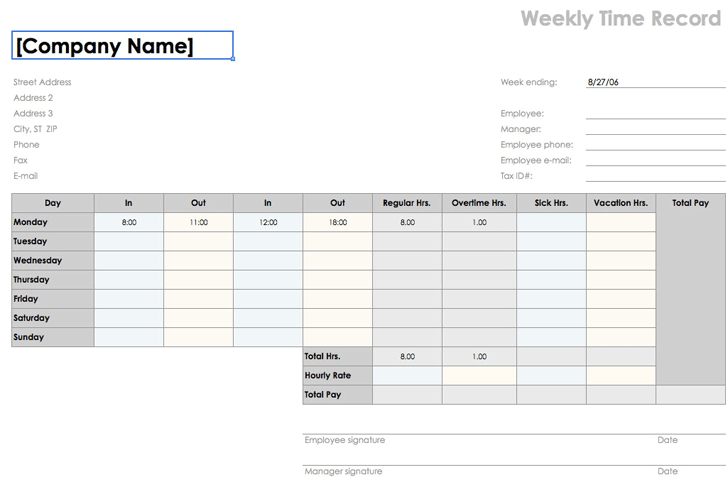 weekly time sheet 8 12 x 11 landscape - Weekly Timesheet Template
