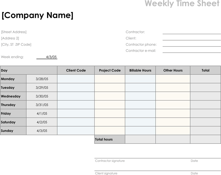 Weekly Timesheet Template - Template Free Download | Speedy Template