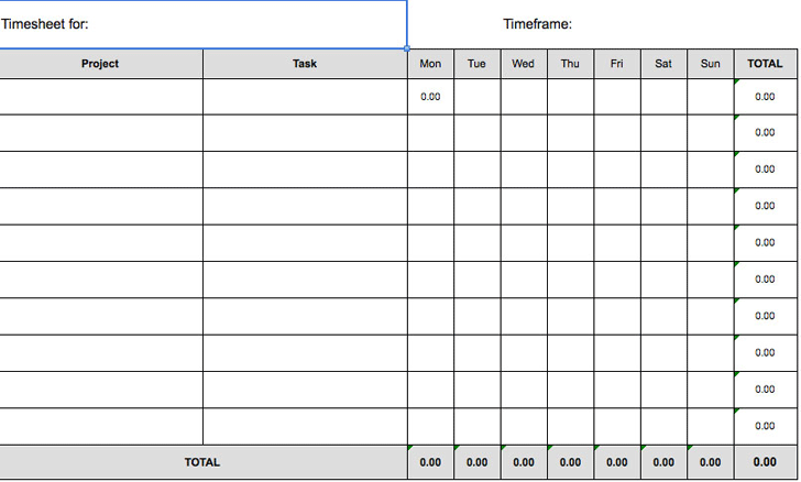 Free Weekly Timesheet Template Xlsx 10kb 2 Page S