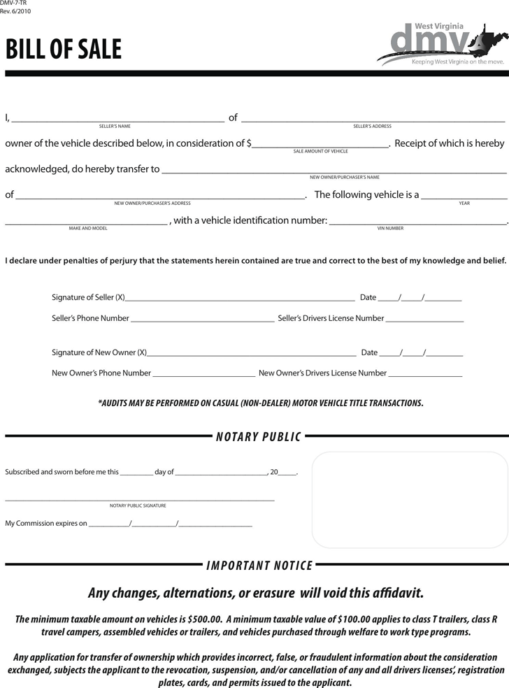 West Virginia Motor Vehicle Bill of Sale Form
