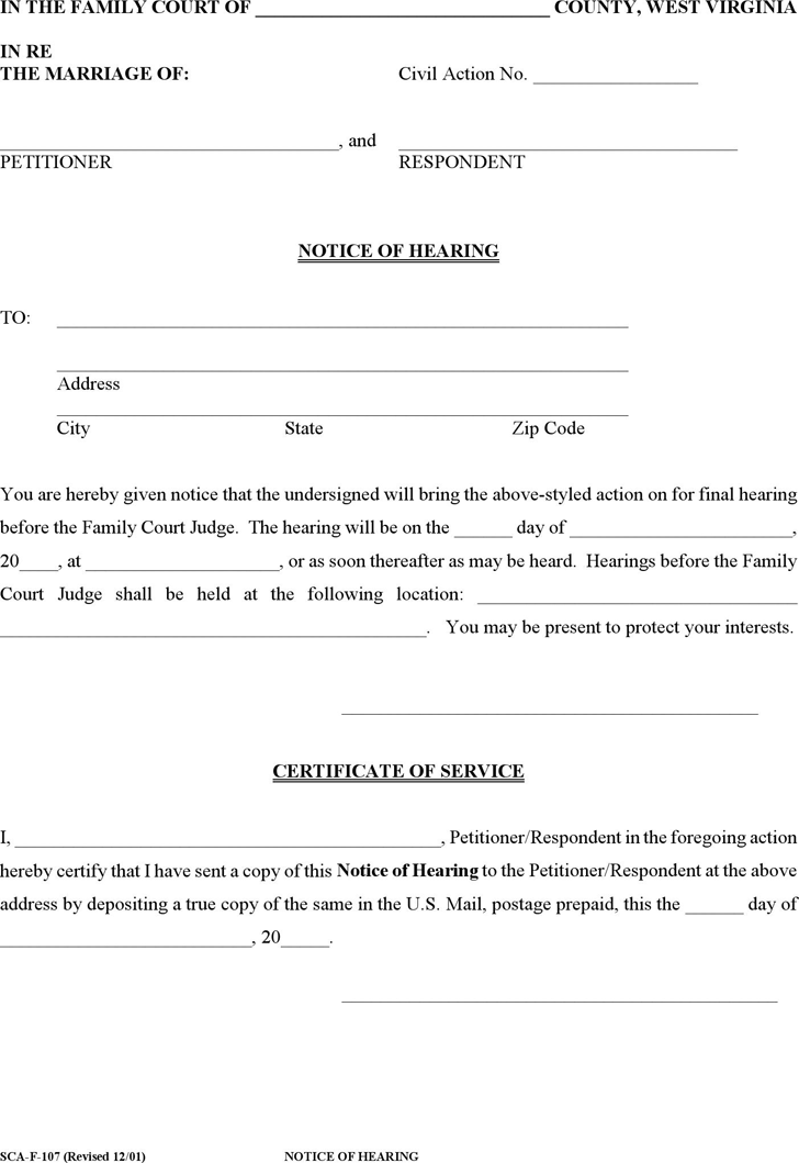 Free West Virginia Notice of Hearing Form - PDF | 20KB | 1 Page(s)