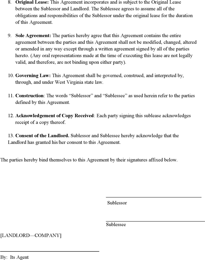 Free West Virginia Sublease Agreement Pdf 103kb 2 Pages Page 2