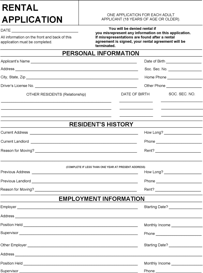 Free Wisconsin Rental Application Form Pdf 97kb 2
