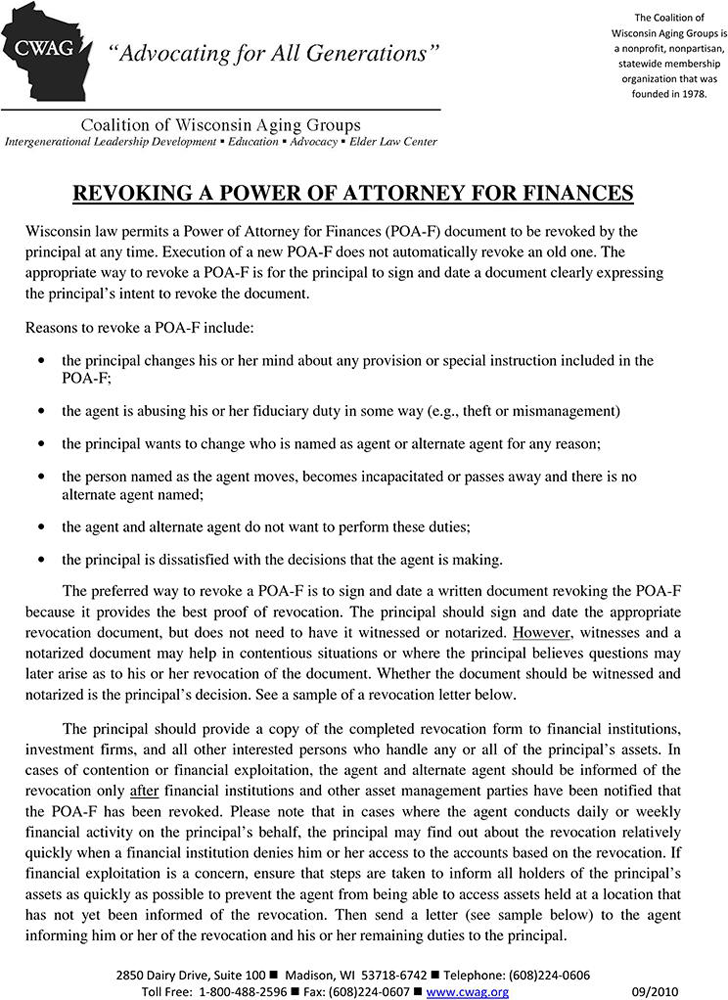 Wisconsin Revoking a Power of Attorney for Finances