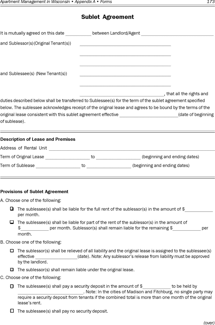 Free Wisconsin Sublease Agreement Form Pdf 459kb 2 Pages