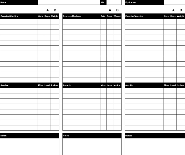 Workout Chart - Template Free Download | Speedy Template