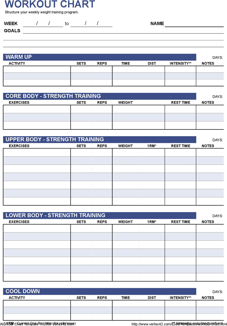 Work Out Charts Template from www.speedytemplate.com
