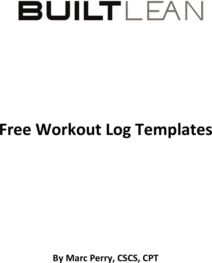 Free Workout Log Templates Pdf 1514kb 13 Pages