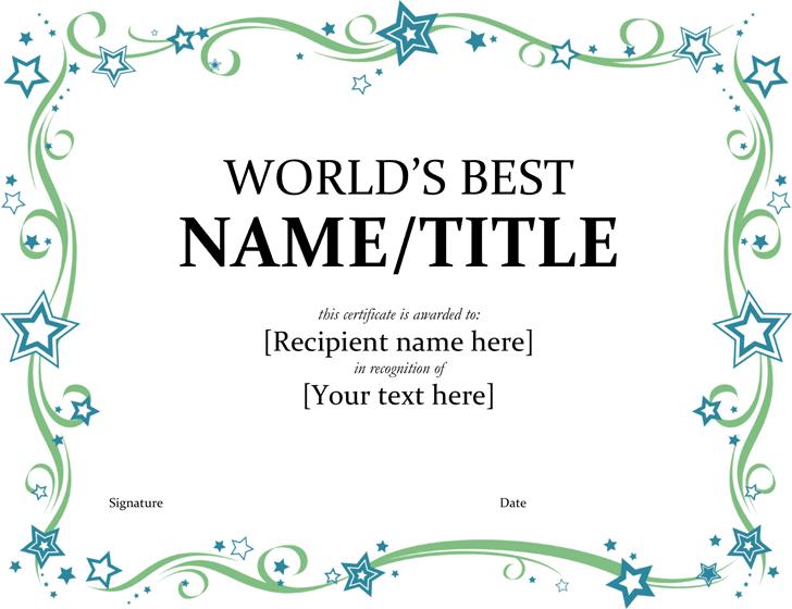 Worldu0027s Best Award Certificate  Best Certificate Templates