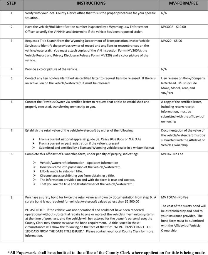 Free Wyoming Affidavit Of Vehicle Ownership Form Pdf 582kb 2