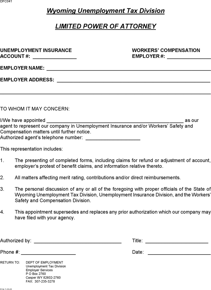 Free wyoming limited power of attorney form pdf 60kb for Special power of attorney template free